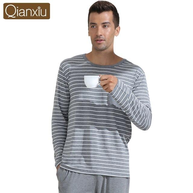 Qianxiu Casual Pajamas Classic Stripe Sleepwear Plus size O-neck Underwear Suit Male Pyjamas