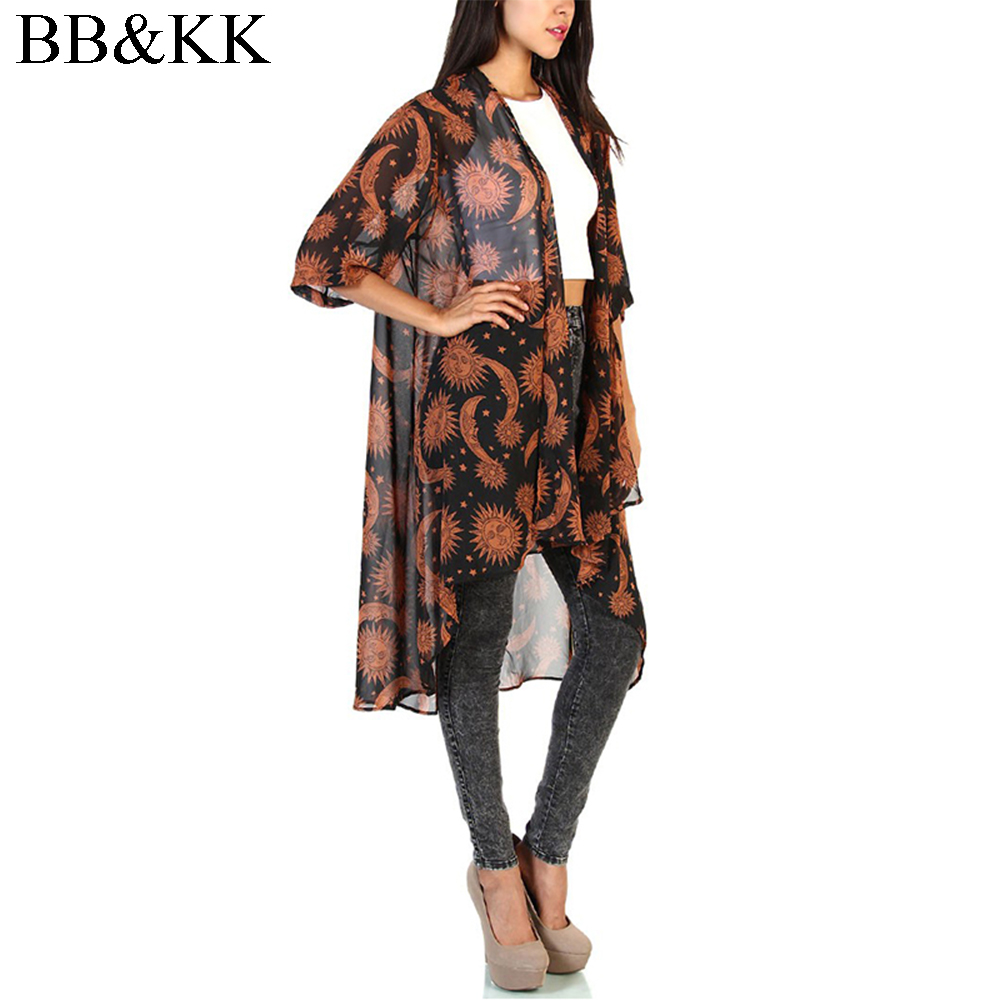 Dames Zomerhemd Vintage bloemenprint Halflange mouw Blouses Casual Hippie Boho Kimono-vest Dames Lange Blusas-tops