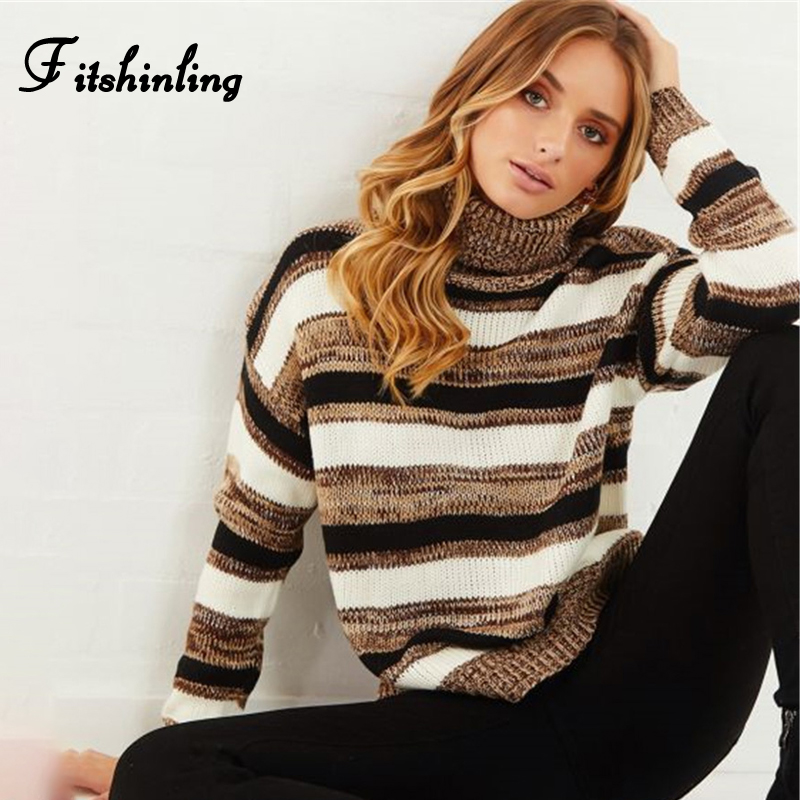Fitshinling Autumn Winter Turtleneck Sweater Women Clothing Striped Long Sleeve Pullover Pull Femme Fashion Slim Ladies Sweaters