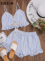 SheIn 2017 Women Summer Two Piece Set Blue Striped Sleeveless Lace Up Smocked Crop Cami And