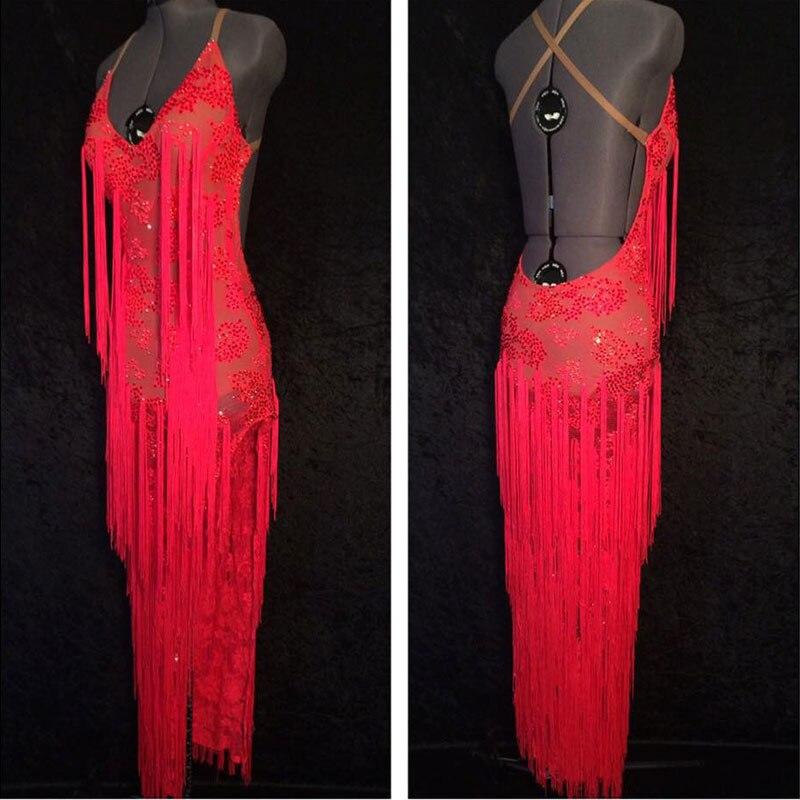 2018 New Latin Dance Dress Red Sexy Latin Dress,salsa,tango Dress Custom-made Red Long Latin Skirt