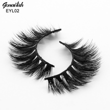 Genailish Mink Eyelashes 3D Eyelashes HandMade Thick Mink Lashes Full Strip False Eye Lashes Extension with High Quality-EYL02