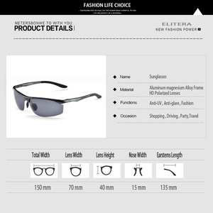 Image 5 - ELITERA Brand Mens Aluminum Magnesium Sun Glasses HD Polarized UV400 Sun Glasses oculos Male Eyewear Sunglasses For Men