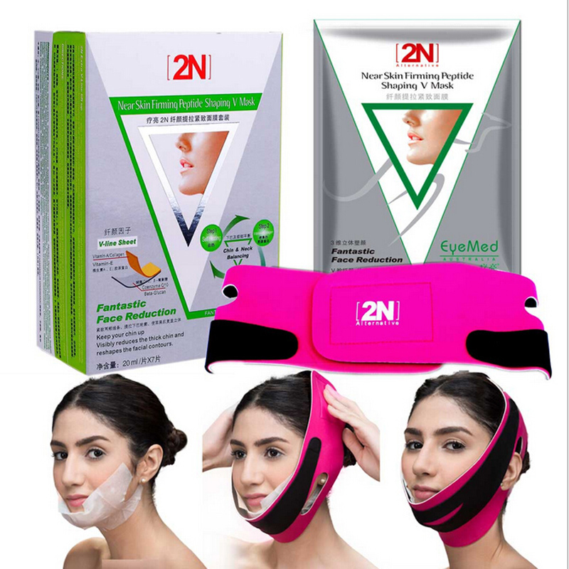 7pcs Face Lifting Firming Face Mask with Bandage Belt V-line V-Shape Remove Double Chin Peptide Facial Slimming Shaping Masks