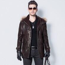 Men's Lamb Fur Jacket Double-Face Coat Sheep Fur Leather Jacket Fashion Slim Long Casual Jacket Hat Detachable V-Neck GSJ125