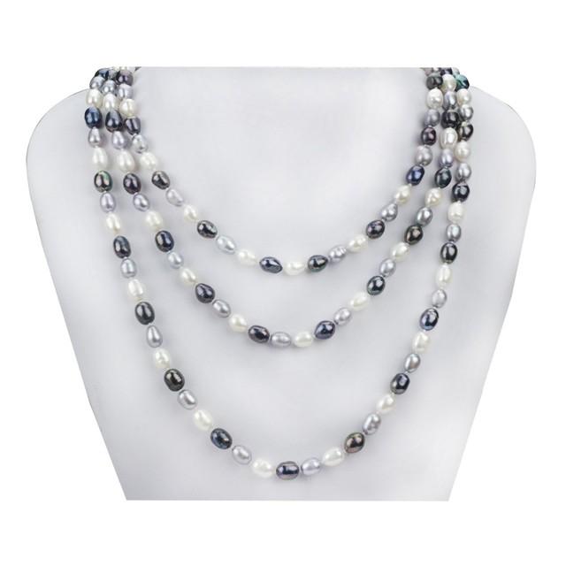 Snh 7mm arroz uma 160 cm colar preto branco cinza cor misturada antique jóias verdadeira pérola longo colar de pingente