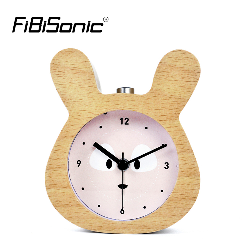 Chinese Zodiac Modern Rabbit Snooze Alarm Clocks Sweep Movement Wood Wooden Desktop Table Alarm Clocks With Light