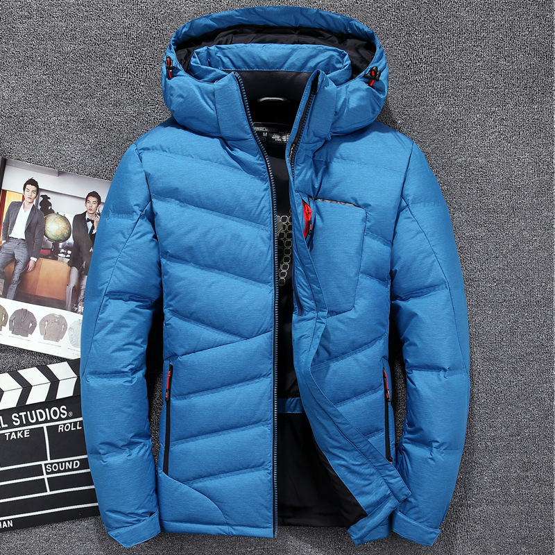 8aa7cf1f4 Down Jacket Men Warm Hooded Winter Jacket Brand High Quality Fashion Casual  White Down Coat Men's Clothing