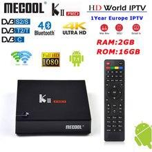 Декодер каналов кабельного телевидения MECOOL Кии PRO Android 7,1 DVB-S2/S DVB-T2/T Оперативная память 2 Гб Встроенная память 16 Гб Поддержка IPTV двухъядерный процессор Wi-Fi 4 K H.265 BT 4,0 smart tv Box