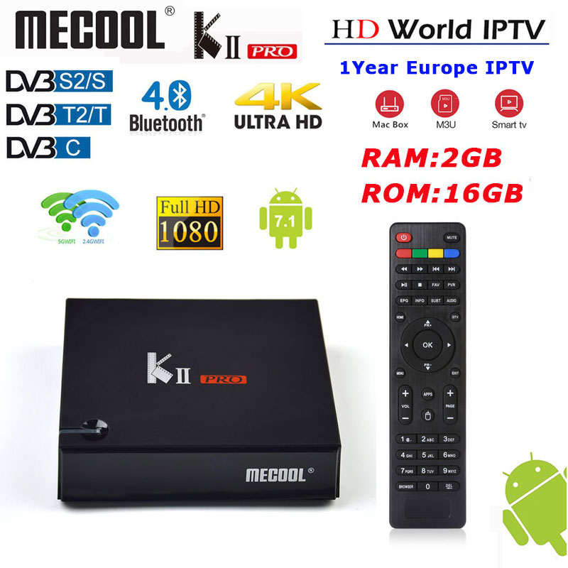 Set top Box MECOOL KII PRO Android 7.1 DVB-S2/S DVB-T2/T di RAM 2 GB ROM 16 GB supporto IPTV Dual wifi 4 K H.265 BT 4.0 smart tv boxSet top Box MECOOL KII PRO Android 7.1 DVB-S2/S DVB-T2/T di RAM 2 GB ROM 16 GB supporto IPTV Dual wifi 4 K H.265 BT 4.0 smart tv box