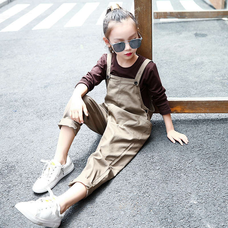 autumn suspender pants clothing sets kids little teenage girl clothes suits long sleeve tops t shirts + wide leg pants 2 pcs set 2017 new boys clothing set camouflage 3 9t boy sports suits kids clothes suit cotton boys tracksuit teenage costume long sleeve