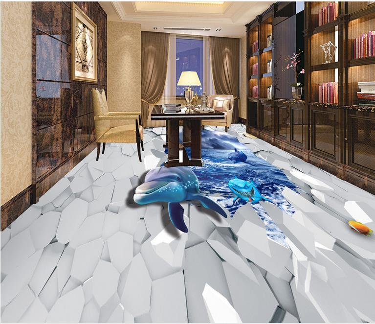 3d wall murals wallpaper vinyl flooring Shark Sea World wallpaper for walls 3d flooring waterproof wallpaper
