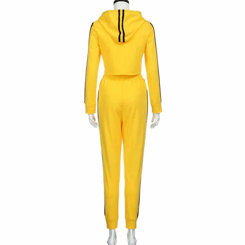... New 2018 2Pcs Women Ladies Tracksuit Crop Hoodies Sweatshirt Pants Sets  Leisure Wear Casual Suit Clothes ... aa7dc4c2b