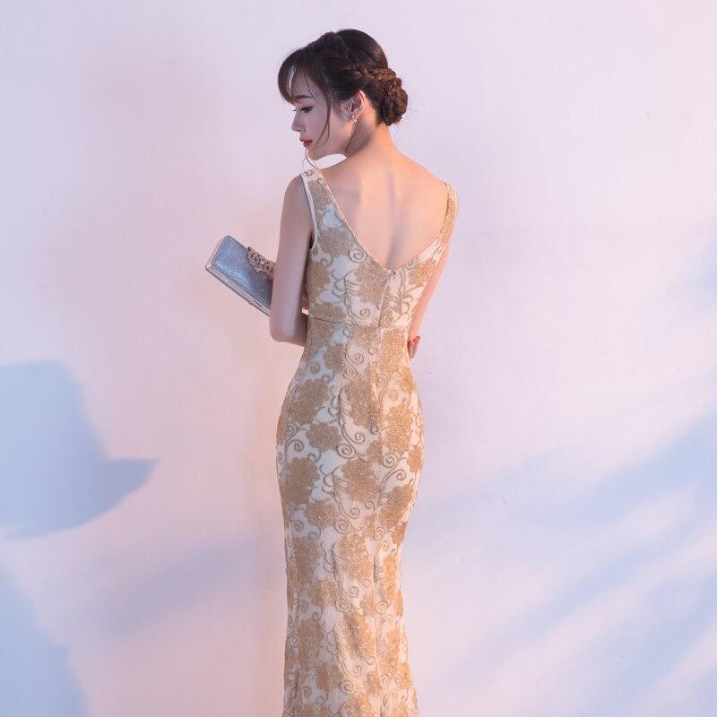 Robes De soirée sirène longues paillettes col bateau Longue Robe formelle 2019 épaule dénudée Elie Saab robes Robe De soirée Longue Femme - 6