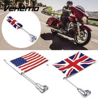 Motorcycle Decorations Rear Mount Flag Pole With Adjustable Mounting Bracket American England Flag For Harley Honda