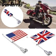 Motorcycle Decorations Rear Mount Flag Pole with Adjustable Mounting Bracket American England Flag For Harley Honda GL1800
