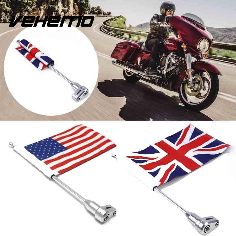 Motorcycle Decorations Rear Mount Flag Pole with Adjustable Mounting Bracket American England Flag For Honda GL1800 motorcycle bike parts custom rear luggage rack mount pole with american usa chrome flag for harley