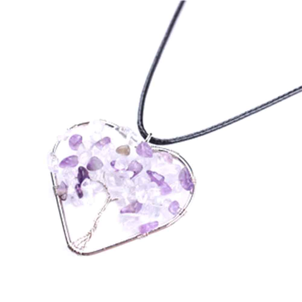 1pc Tree Of Life Pendant Choker Necklace Heart-shaped Hollow Short Chokers Natural For Women