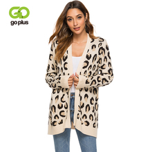 GOPLUS 2019 Autumn Fashion Sexy Leopard Cardigans Women Casual Long Sleeve Loose Knitted Sweater Open Stitch Top Female