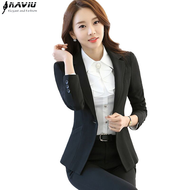 53349fbe4c4e Business women pants suits set fashion formal long sleeve interview blazer  with pants office lady plus
