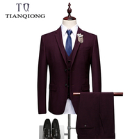 2019 Dark Green Purple Red Suits for Men Brand Spring Slim Fit Mens Party Dinner Prom Suits High Quality Wedding Suit for Men