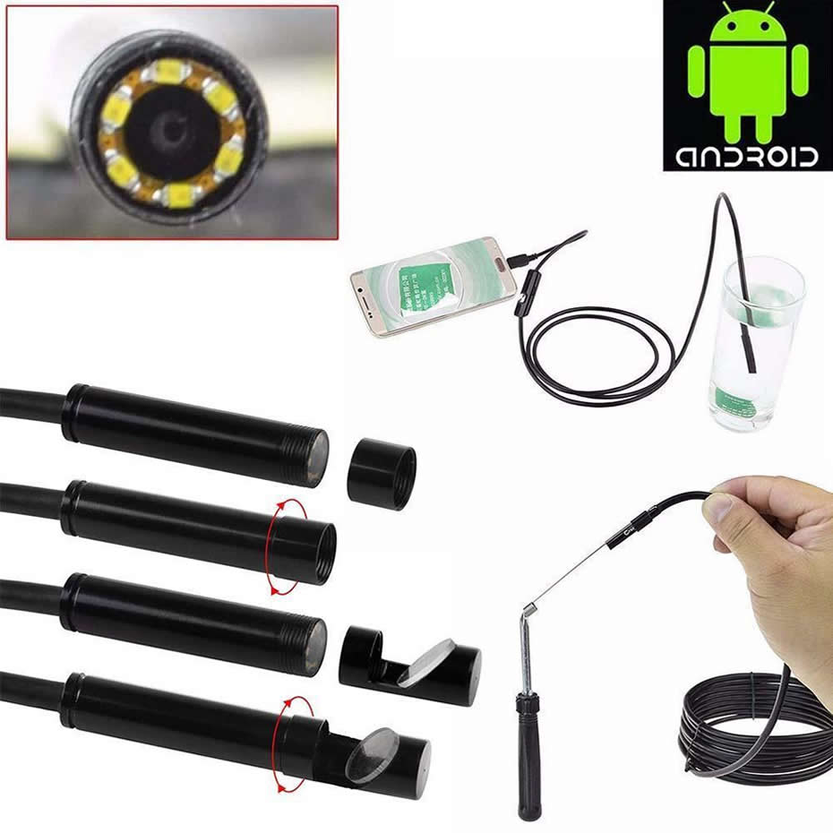 Wsdcam Waterproof Endoscope Camera with USB Interface and 6 LED Light for Android/iOS Phone 6