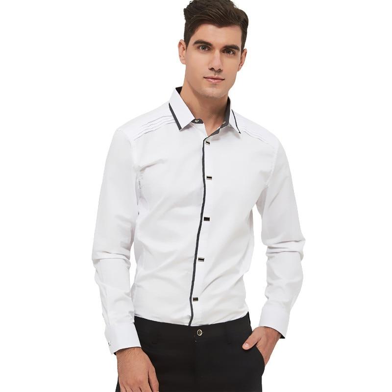 Image 4 - MIACAWOR Top Quality Shirt Men 100% Cotton Dress Shirts Spring Long Sleeve Casual Shirt Men Wedding White Shirts Men C013-in Dress Shirts from Men's Clothing
