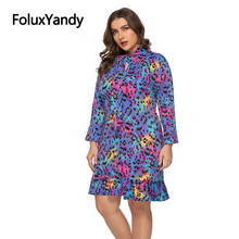 Leopard Long Sleeve Dress Women Slim A-line Plus Size Ruffles Bohemian Vestidos SQQ1930