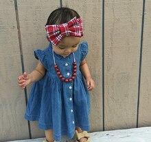 Cute Butterfly Sleeves Denim Dress
