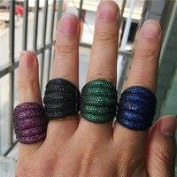 Роскошные вечерние кольца черного золота закрепка паве установка AAAA обручальное кольцо с фианитами кольца для мужчин и женщин украшения дл