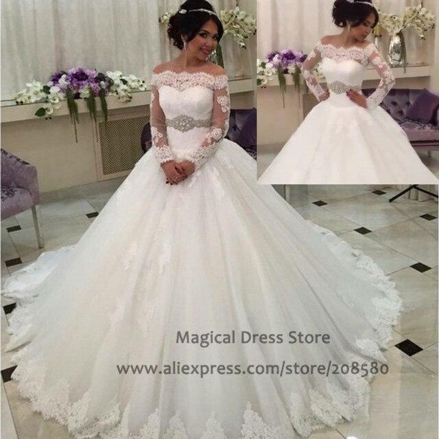 Aliexpress Buy Women Arabic Wedding Dress Ball Gown Long Sleeve Abiti Da Sposa Off The