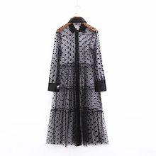 Women Sexy Perspective Polka Dot Mesh Dress Long Sleeve Midi Shirt Dresses Patchwork Transparent