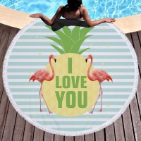 Large Oversized Microfiber Round Beach Towel Flamingo Girls Women Adults Thick Terry Toalla Redonda Playa Serviette De Plage