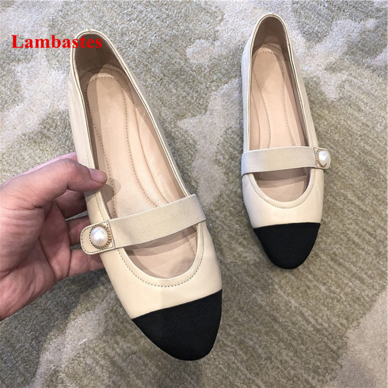 Mixed Color Casual Shoes Women 2018 New Arrive Shallow Pearl Slip On Women Flats Round Toe Leather Mary Janes Chaussure Femme цена