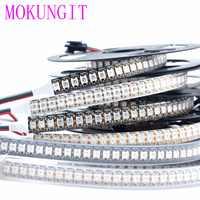 1 M DC5V WS2812B SK6812 5050 RGB 144 LEDs píxeles direccionable Luz de tira llevada impermeable IP20 IP65 IP67 Blanco/ cinta Negra PCB DC5V