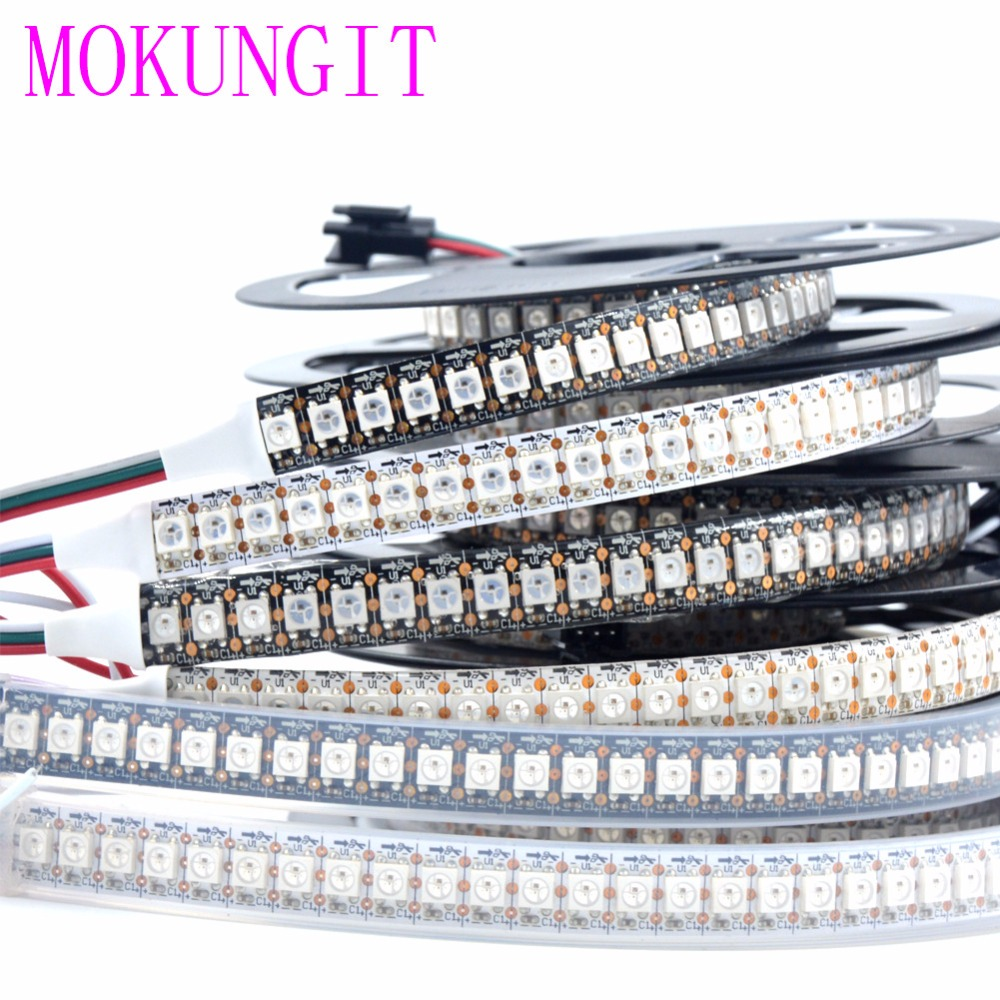 1M <font><b>DC5V</b></font> <font><b>WS2812B</b></font> SK6812 5050 RGB 144LEDs Pixels Addressable Waterproof Led Strip Light IP20 IP65 IP67 White / Black PCB Tape <font><b>DC5V</b></font> image