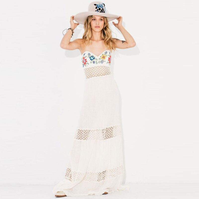 Лантана Валенсия Макси летнее платье без бретелек с плеча длинное платье пляжные платья выдалбливают Кружево платье с вышивкой Mujer