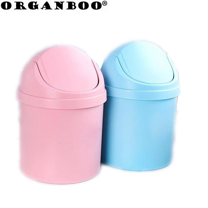Mini Desktop household trash can with lid desk clean trash debris storage poubelle plastic bucket car trash bin box lid