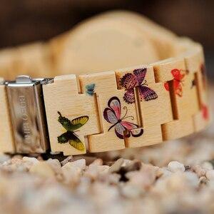 Image 4 - BOBO BIRD O20 فراشة طباعة النساء الساعات جميع الخيزران صنع كوارتز ساعة اليد للسيدات في علبة هدايا خشبية