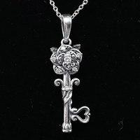 925 Sterling Silver Naszyjnik Vintage Rose Klucz Z Jasnego Cyrkonia Fine Jewelry Naszyjniki Dla Kobiet Dla Kobiet Prezent Ślubny