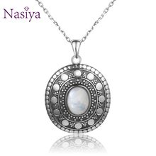 New Style 925 Silver Moonstone Pendants Necklaces For Women Men Classic Oval Design Jewelry Daily Life Casual Birthday Gift