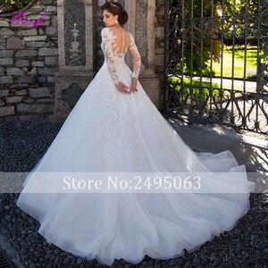 Image 2 - Fmogl graciosa apliques de manga longa vestidos de noiva linha a 2020 vintage colher pescoço botão plus size vestido noiva
