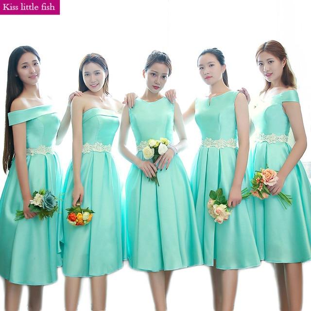 Free Shipping 2018 New Tiffany Blue Short Bridesmaid Dresses Robe Demoie D Honneur