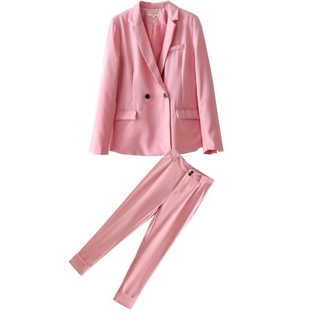 Set female 2018 summer new temperament fashion long-sleeved small suit jacket + casual trousers elegant two-piece suit