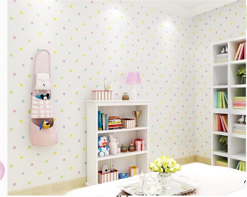 US $29.81 42% OFF|Beibehang Grün Vliesstoffe Jungen Mädchen papel de parede  3d Tapete Kinderzimmer Schlafzimmer Tapete Warmen Cartoon Farbe Kreis ...