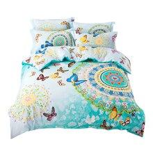 Svetanya Bohemio del lecho de la reina tamaño doble hoja + funda nórdica + funda de almohada 4 unids de algodón conjuntos de ropa de cama