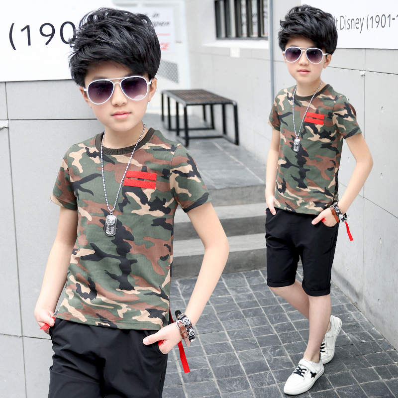Childrens Set New Boys Summer Sports Suits Round Neck Red Ribbon Camouflage Short Sleeve T Shirt Shorts Two Pieces Suit
