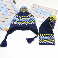 Two pieces Warm earmuffs scarves Cotton winter outdoor hat cap Boys and Girls Baby Hat Set high quality Knitted hat Color grid