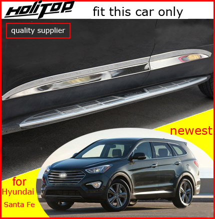 Different Product! for Hyundai Santa Fe Santafe 2013-2018 body side moulding molding door sill scuff plate, fit this car only for hyundai santa fe ix45 2013 stainless steel 4pcs door sill step scuff plates