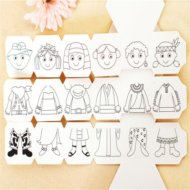 Craft Toys Children Rotary Diy Paper Colour Matching Rotation Change Clothes Doll Creative Handcraft Puzzle Kindergarten Toys For Children Toys & Hobbies